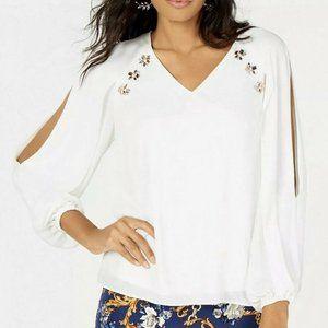 Thalia Sodi Large Blouse Slit Sleeves White NEW
